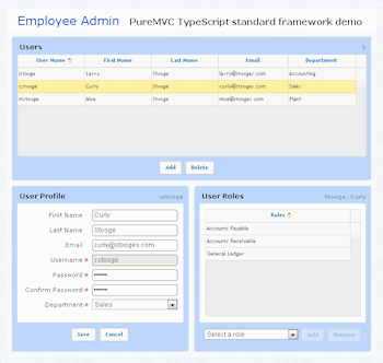 live puremvc employee admin demo screenshot